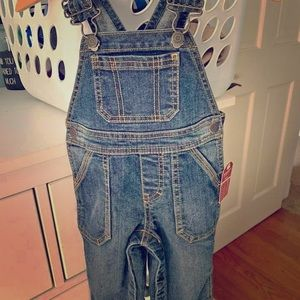 NEW baby jean overalls 9m